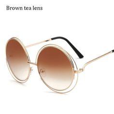 5f71e8598186df AFOFOO New Fashion Wire Frame Sunglasses Brand Designer Women Big Frame  Round Sun glasses Oversized Eyewear Shades Oculos de sol