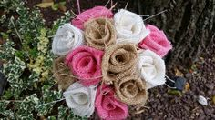 Handmade burlap wedding bouquet DIY roses Flowers modern bridal shower mother daughter pink white natural rustic country vintage farmhouse by ANGIESZZZCRAFTS on Etsy