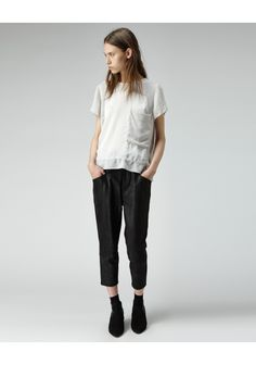 slouchy woven white tshirt.  with a pocket.