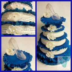 """Fun and full of frills wedding cake topped with an edible """"glass"""" slipper"""