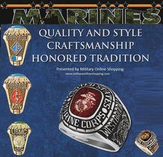 Marine Corps Rings. All rings are custom made and can be personalized with 2 side emblems, your name and dates on each side. Great #giftsforhim and #giftsfordad if he has served aor is currently serving.