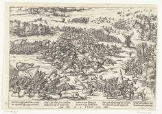 Frans Hogenberg | Slag op de Mookerheide, 1574, Frans Hogenberg, 1574 - 1576 | Slag op de Mookerheide, 14 april 1574. Veldslag tussen het leger van de opstandelingen onder bevel van Lodewijk en Hendrik van Nassau en het Spaanse leger onder de veldheren d'Avila, Mendoza en Mondragon. Linksboven Nijmegen, rechts Mook. Met onderschrift van 10 regels in het Duits. Ongenummerd.