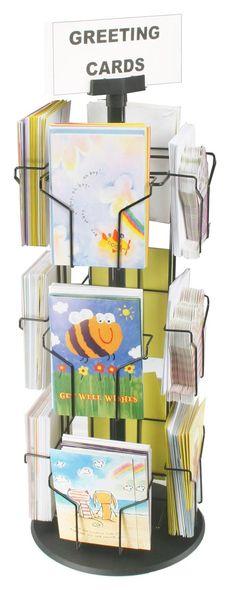 Rotating Greeting Card Display w/ Sign Clip, Countertop, 12 Pockets - Black