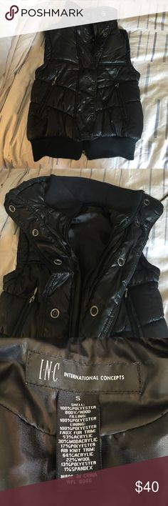 INC Black Puffer Vest Awesome black Vest by International Concepts. Size small. Zips and snaps up he front. Zippered pockets. Elastic collar and waistband. Adjustable drawstring cinch at top outer collar. Very good condition. INC International Concepts Jackets & Coats Vests