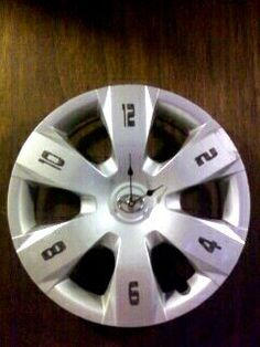 UpCycled Toyota Hubcap Clock 175 Diameter by TransCreation on Etsy, $29.95