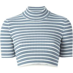 Alessandra Rich Striped Cropped Sweater ($122) ❤ liked on Polyvore featuring tops, sweaters, crop tops, shirts, t-shirts, blue, merino sweater, crop shirt, stripe sweater and stripe shirt