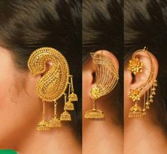 A small accessories will effect the style of the look. One piece of accessorie can express the emotion of being classy, bold, chic. Let's analyze how it works … Gold Jhumka Earrings, Indian Jewelry Earrings, Jewelry Design Earrings, Gold Earrings Designs, Indian Wedding Jewelry, Bridal Jewelry, Indian Gold Jewellery, Cuff Earrings, Gold Bangles Design