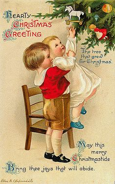 Hearty christmas greetings  The tree that grew for christmas  May this merry christmastide bring thee joys that will abide
