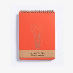 Kitchen Tool Kit notebook. Rich tangerine cover, letterpress gold ink. $20.00 at hartfordprints.com