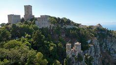medieval castle on the hillside in Erice, Sicily.