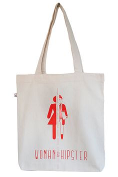 Half Woman Half Hipster tote bag, orange print, eco friendly, fair wear, by Poor Edward