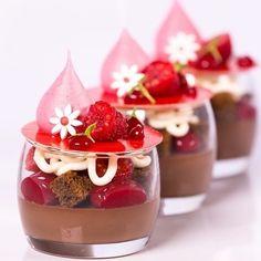 Chocolate , raspberry and coconut verrines Antonio Covelo. Desserts Français, Fancy Desserts, Plated Desserts, Delicious Desserts, Dessert Recipes, Yummy Food, Dessert Cups, Creative Food, Chocolates