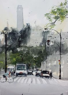 Coit tower by David Savellano Watercolor ~ 18 x 12