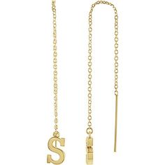 14k Yellow Gold Single Initial S Chain Earring for Women 0.95g Tiea Jewels Initial Earrings, Chain Earrings, Dangle Earrings, Resin Jewelry, Jewelry Gifts, Solid Gold, White Gold, Gold Material, Gifts For Women