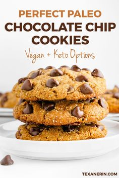 Perfect Paleo Chocolate Chip Cookies have the most amazing texture. These delicious gluten-free cookies are nice, thick and chewy. Grab this healthy dessert recipe and try these cookies for you and your family today! They even come with vegan and keto options. #ad #glutenfree #paleo #cookies #desserts #recipe #healthy