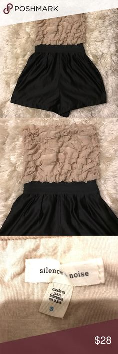 Silence & Noise ruffled romper Size small. EUC. Tan ruffled top with spandex waistband and satin shorts. 2 side pockets‼️Shell 1: 96% polyester and 4% spandex. Shell 2: 100% polyester. Lining: 100% polyester. So cute and so wish it still fit me. Feel free to ask me any questions😊 Urban Outfitters Dresses