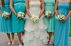 Ah the pregnant bridesmaid. It always happens, and what can you do but be happy for her anyway ;-)  Bridesmaids don't have to match, as long as they are in the same color family.