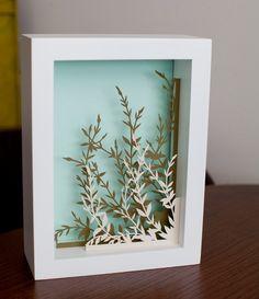 wildflowers . 5 x 7 cut paper shadow box . hand cut. $75.00, via Etsy.