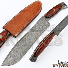 Knives Exporter New Damascus Steel USA Survival Bowie Meat Knife Wood Handle 307 #KnivesExporter