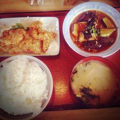 麻婆茄子 + フライドチキンタルタルソース + 味噌汁 + 御飯 = 640yen my lunch today #food #lunch #japan #yummy