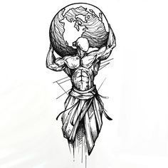 The best tattoo idea in sketch style. A man holding the whole Earth on his shoulder. This tattoo means strength, struggle and power. Style: Sketch. Color: Black. Tags: Best, Creative, Amazing
