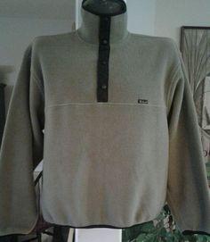 Woolrich Polartec 1/4 T-Snap Fleece Pullover Made USA Mens Large Biege Vintage | eBay
