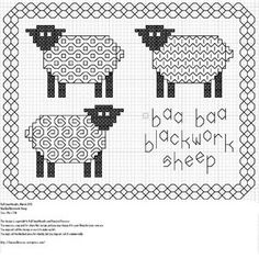 tres jolie moutons --cute cross stitch pattern