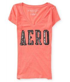 da15ef8a7f Camiseta Aéropostale Women s Aero Shine V-Neck Graphic T Salmon Berry   Camiseta  Aéropostale