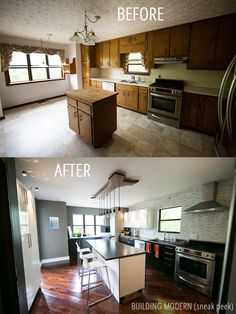 A sneak peek / before and after of our modern kitchen diy renovation. Marble waterfall Carrara tile backsplash. Ikea high gloss white Abstrakt and Gnosjo Akurum cabinets. Live edge walnut light fixture. Wide plank hardwood walnut floor. Concrete countertops we poured ourselves.