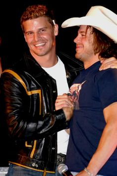 david boreanaz and christian kane-- apparently they are best friends since even before david was on buffy/angel.  !!!