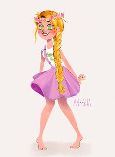 disney modern AU!  Rapunzel; from homeschooled loner to a gifted fine-arts student.