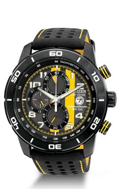 Citizen Eco-Drive Chronograph Men's Watch PRIMO Yellow. Adrenaline is at full throttle with this race-inspired watch. Lead the field in fashion with this sporty, 1/5 second chronograph powered by Eco-Drive technology. The stainless steel grey ion-plated case, accompanied by a soft-touch strap backed with yellow nylon, will keep you on the fast track to style.