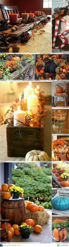Fall Decorating Ideas.. Love the candles in the wooden box with the pumpkins!