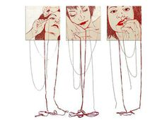 Ilaria Margutti: Mend of Me Sexy Painting, Yarn Painting, Painting Collage, Collage Art, Collages, Paintings, Art Alevel, Outline Art, Ap Studio Art