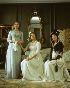 Kate Winslet as Marianne Dashwood, Emma Thompson as Elinor Dashwood and Imogen Stubbs as Lucy Steele in Sense and Sensibility 1995).