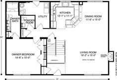 Brook View (Plan C) Floorplan of Ameri-Log Collection - All American Homes