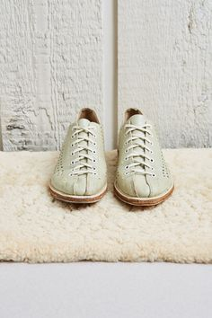1970s Bowl-matic Sea Foam Green Punched Leather Bowling Shoes  7 W by SoftServeVintage
