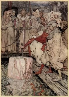 How Galahad drew out the sword from the floating stone at Camelot. by: Arthur Rackham (Artist) from: The Romance of King Arthur and His Knights of the Round Table, Abridged from Malory's Morte D'Arthur (Facing p. 318) -  1917
