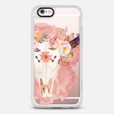 Flower Skull Watercolor Pink Feminine Floral Boho Bohemian Hippie Girl - New Standard ケース