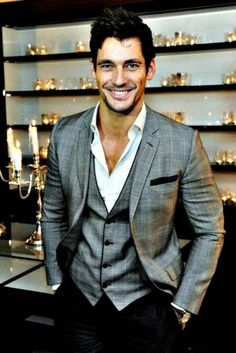 Love this grey suit jacket and vest. like the different pants too...