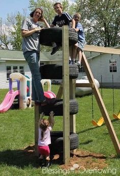 Tire Climbing Tower-can add on to any swing set This looks great - what a good idea for using old tires - I want one for our backyard!Could make a Tire Climbing Tower upto the Backyard Play Ideas You Can Do By YourselfA huge collection of Kids Outdoor Play, Outdoor Play Areas, Kids Play Area, Backyard For Kids, Outdoor Fun, Backyard Ideas, Kids Yard, Backyard Games, Outdoor Games