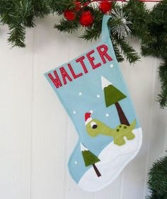 Custom Dinosaur Christmas stocking by kandybarnett on Etsy, $22.00 ...