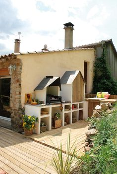 45 Awesome Outdoor Kitchen Ideas and Design - Pandriva Outdoor Kitchen Kits, Outdoor Cooking Area, Outdoor Kitchens, Backyard Patio Designs, Backyard Landscaping, Outdoor Barbeque, Back Gardens, Bbq Grill, Home Deco