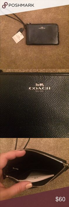 Coach Wristlet NWT, navy blue. Has two slots inside for credit cards Bags Clutches & Wristlets