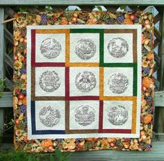 Advanced Embroidery Designs. Free Projects and Ideas. First Call for Fall - wall quilt with machine embroidery.