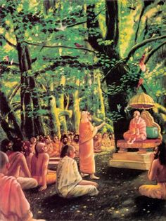 SB 1.1.5  One day after finishing their morning duties and burning a sacrificial fire and respectfully offering a seat to Srila Suta Gosvami, the great sages, headed by Saunaka Rsi, earnestly addressed him