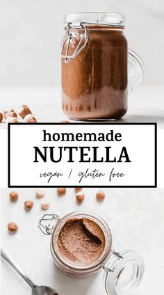 HOMEMADE NUTELLA recipe made with just two ingredients: hazelnuts and chocolate. Learn how to make it with this step-by-step tutorial #nutella #vegan