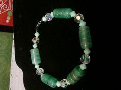 green spun glass and glass ab round beads and mint swarovski crystals, for sale