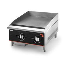 """Vollrath Cayenne Heavy-Duty Griddle 24"""" - 924GGM    Cayenne Heavy-Duty Griddle, 24"""", 60,000 BTU, Manual Control, stainless 2 burners placed every 12"""" for 30,000 BTU per 12"""" cooking surface, polished surface 1"""" thick plate, 24"""" cooking surface depth, stainless burner construction, stainless exterior, 5"""" sloped side splashes, 5"""" back splash, shipped set up for natural gas, includes kit for conversion to propane"""