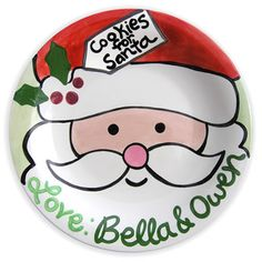 "Personalized Cookie Time Santa Plate... Daneta find a Santa or ""Christmas Themed"" Scene and then trace it on the ""Plate"" and color it in with a Sharpie and bake @ 350 degrees for a GREAT ""Cookies For Santa"" Plate !"
